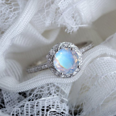 Rainbow Moonstone engagement ring White gold