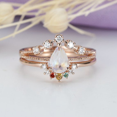 Moonstone engagement ring  Set Rose gold Women Pear shaped Personalized