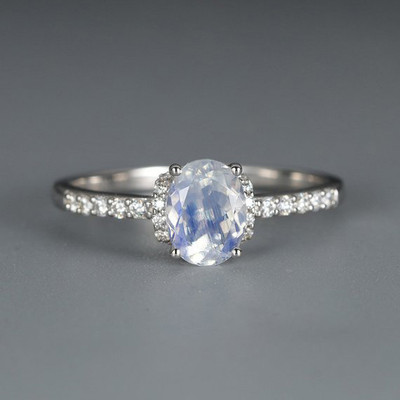 Oval cut Moonstone engagement ring Women