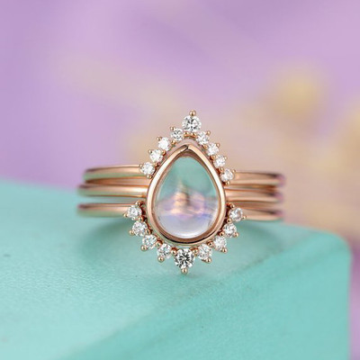 Pear Shaped Moonstone Wedding Set