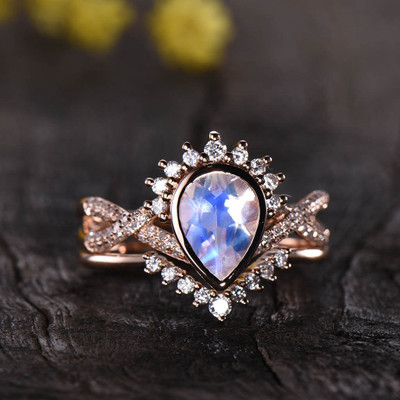 Moonstone Engagement Ring Rose gold Diamond Bridal Set 02