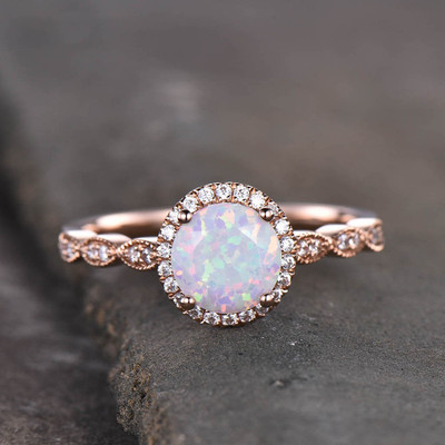 Opal Engagement Ring Rose Gold