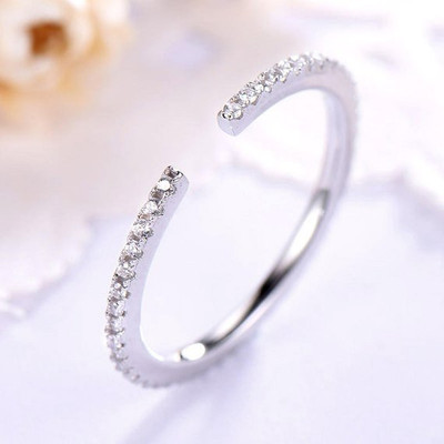 Open Full Eternity Cz Wedding Band Side