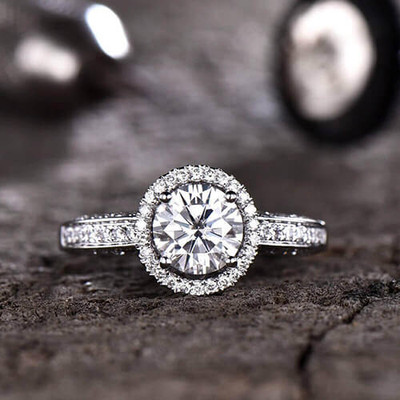 7mm Round  Forever One Moissanite Engagement ring Halo