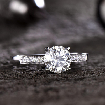 Round Cut Forever One Moissanite Engagement Ring