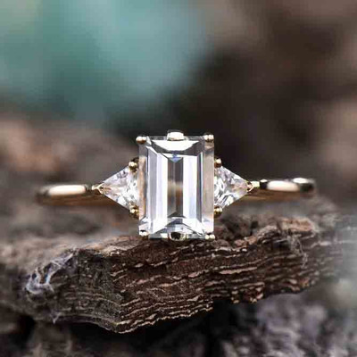 Emerald Cut White Topaz Three Stone Engagement Ring 0