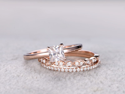 5mm Princess Cut Moissanite Engagement Ring Set Diamond Wedding Bands Rose Gold Art Deco Matching