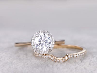 1CT Halo Moissanite Engagement RIng-BBBGEM Moissanite Wedding Ring Sets