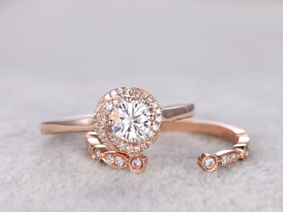 Moissanite Engagement Ring Set Diamond Wedding Bands Rose Gold Open Gap Art Deco Matching