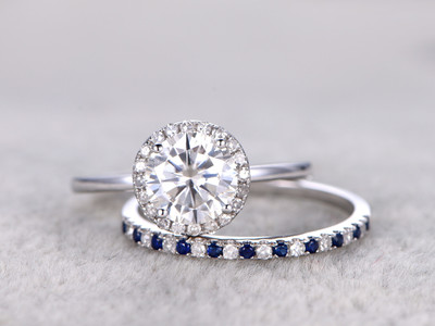 moissanite wedding ring set and sapphire