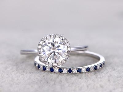 moissanite wedding ring set and sapphire