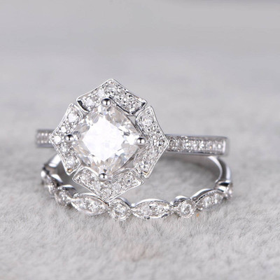 Art Deco Floral Moissanite Engagement Ring Set 0