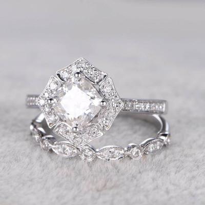 Art Deco Floral Moissanite Engagement Ring Set 0