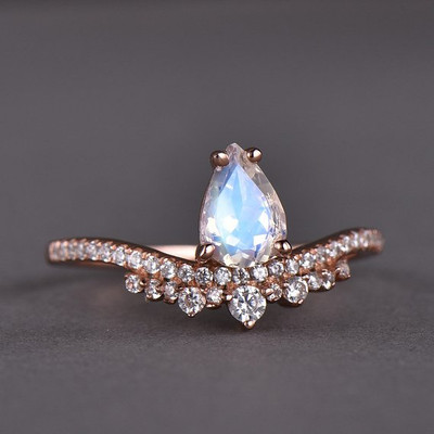 Moonstone Engagement Ring Unique Rose Gold CZ Diamond Art Deco
