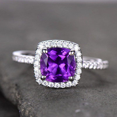 Silver Amethyst Engagement Rings 6.5 Cushion Cut