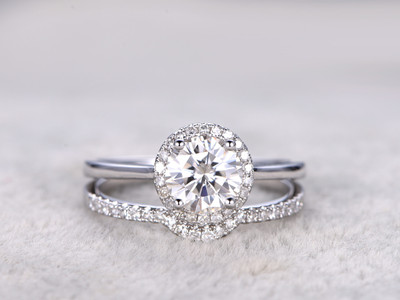 moissanite bridal sets white gold