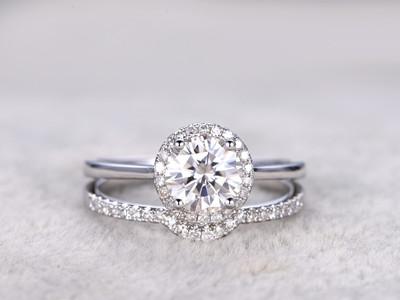 moissanite bridal sets white gold