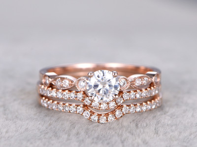 3pcs Moissanite Wedding Ring Set Diamond Matching Band Rose Gold Art Deco Curved Thin Pave Stacking 14K/18K