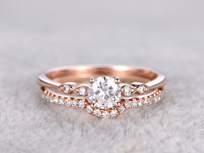 2pcs Moissanite Wedding Ring Set Diamond Matching Band Rose Gold Art Deco Curved Thin Pave Stacking 14K/18K