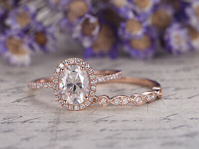 Oval Rose Gold Moissanite Wedding Set