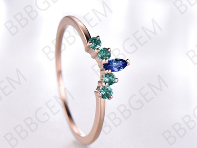 Sapphire Alexandrite Curve Wedding Band 14K/18K Rose Gold Alexandrite-b002