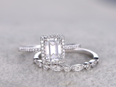 Radiant Cut Moissanite Engagement Rings Sets Diamond Matching Band White Gold 5x7mm Stone Art Deco Stacking 14K/18K