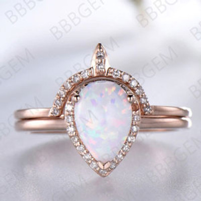 Opal Crown Wedding Ring Set 6x8mm Pear Shape