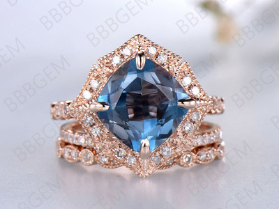 Cushion Cut London Blue Topaz Engagement Ring