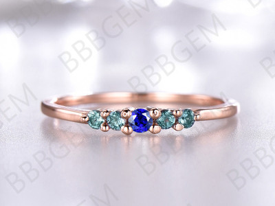 Sapphire Alexandrite Wedding Band 14K/18K Rose Gold Alexandrite-b004