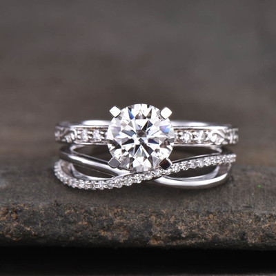 Moissanite Bridal set white gold