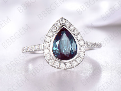 8x6mm Pear Alexandrite Bezel Ring Halo 14K 18K White Gold Alexandrite-r003