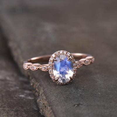 Rainbow Moonstone Engagement Ring-BBBGEM Oval moonstone engagement rings