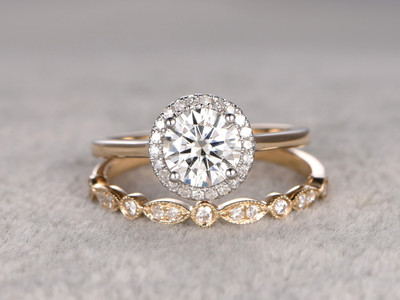 2pcs Moissanite Wedding Ring Set Diamond Matching Band Two Tone Gold Art Deco Half Eternity Stacking 14K/18K