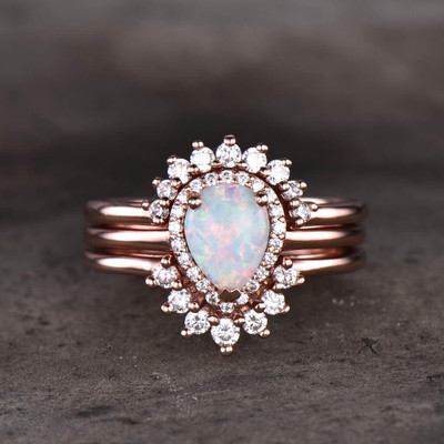 rose gold opal wedding ring set