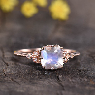 Cushion Cut Moonstone Engagement Ring 0