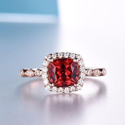 6.5mm Cushion Art Deco Garnet Engagement Ring  0