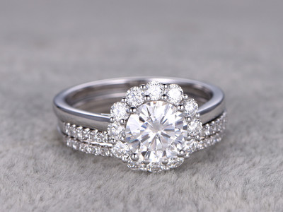 Flower Moissanite Wedding Ring Set Diamond Curved Matching Band White Gold Halo Thin Pave Stacking 14K/18K