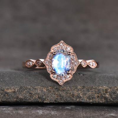 Moonstone Engagement Ring Rose Gold-BBBGEM Moonstone Ring