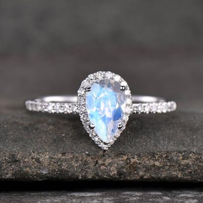 Pear Moonstone Engagement Ring White Gold-BBBGEM Teardrop Moonstone Ring