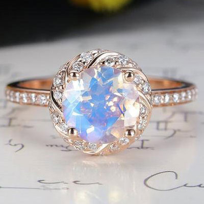 Moonstone engagement ring rose gold 7mm round cut