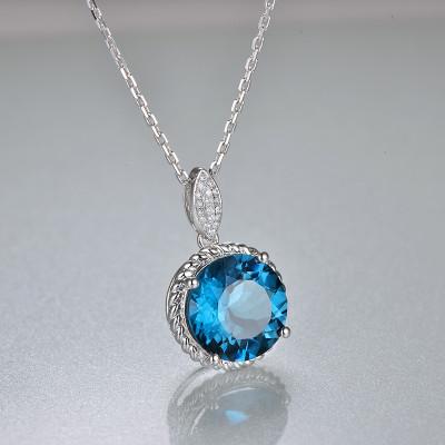 4 carat London Blue Topaz Pendant Solid 14K White Gold Blue Gemstone Topaz Necklace