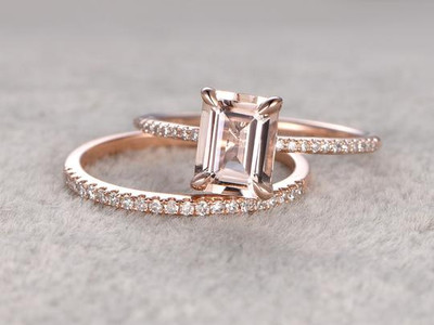 Rose Gold Morganite Wedding Set Emerald Cut