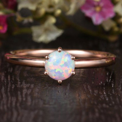 6 prongs  Opal Engagement Ring