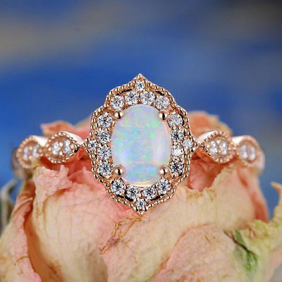Rose Gold Oval Opal Engagement Ring Vintage