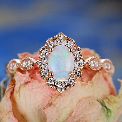 Rose Gold Oval Opal Engagement Ring Vintage -BBBGEM Oval Opal Ring