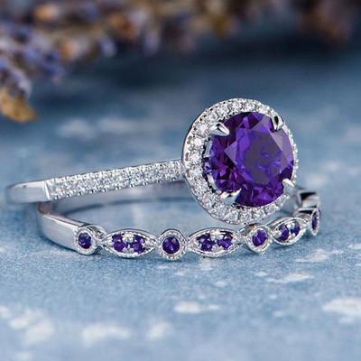 Amethyst bridal set