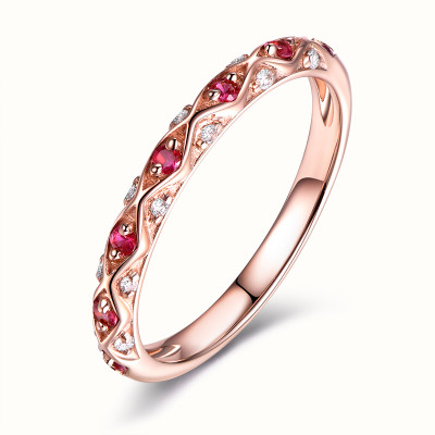 Ruby Diamond Wedding Band