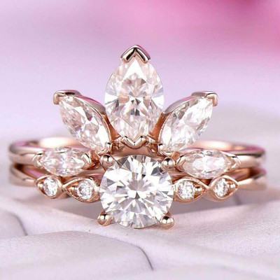 Moissanite Engagement Wedding Ring Set