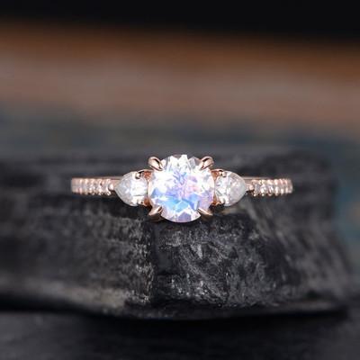 three stones moonstone engagement rings