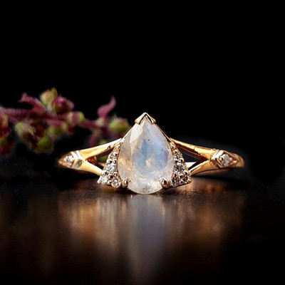 Rose Gold Pear Rainbow Moonstone Engagement Ring